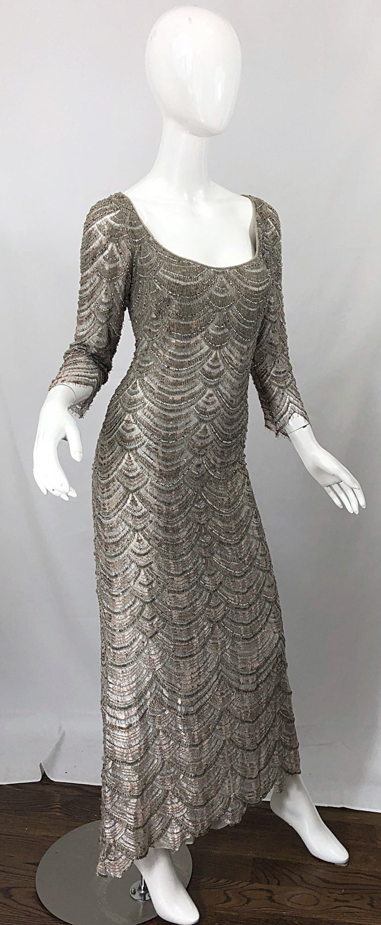 Beautiful 1990s Badgley Mischka Size 12 Fully Beaded Grey Vintage 90s Deco Gown For Sale 2