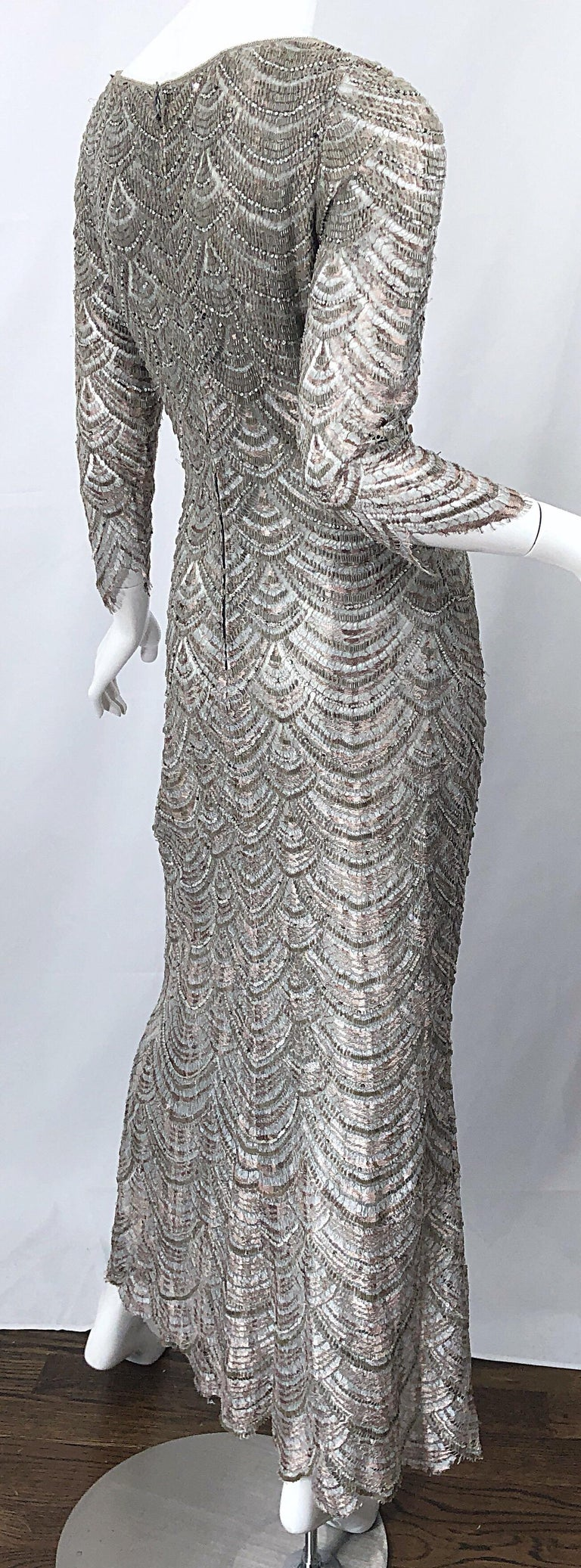 Beautiful 1990s Badgley Mischka Size 12 Fully Beaded Grey Vintage 90s Deco Gown For Sale 3