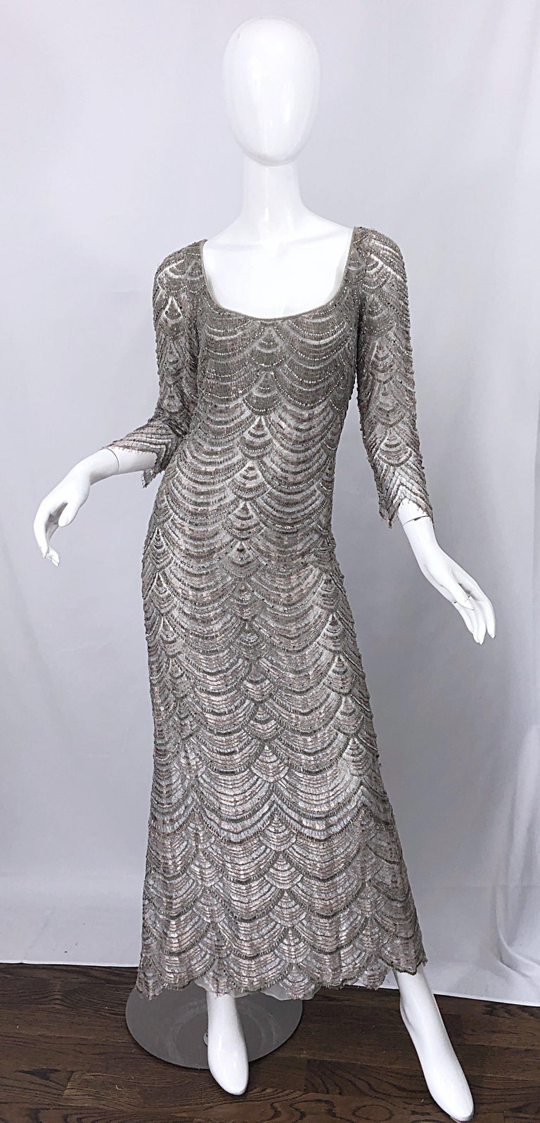 Beautiful 1990s Badgley Mischka Size 12 Fully Beaded Grey Vintage 90s Deco Gown For Sale 4