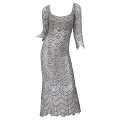 Beautiful 1990s Badgley Mischka Size 12 Fully Beaded Grey Vintage 90s Deco Gown