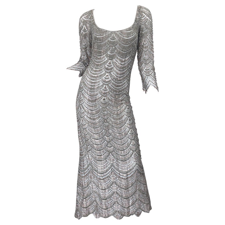 Beautiful 1990s Badgley Mischka Size 12 Fully Beaded Grey Vintage 90s Deco Gown For Sale