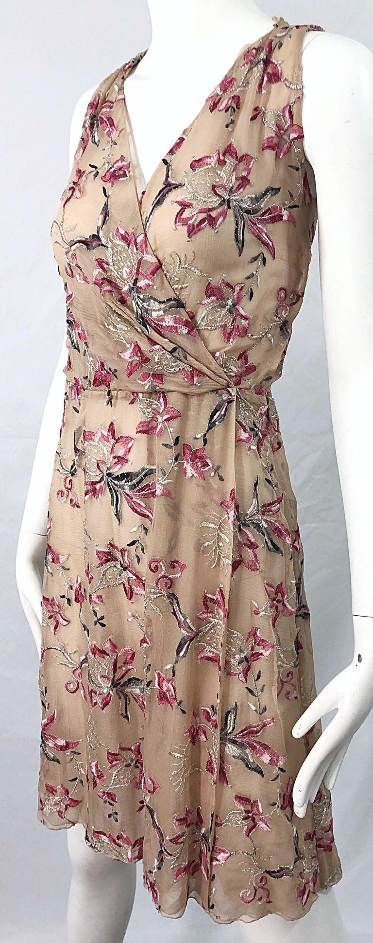 Beautiful 1990s Valentino Nude Silk Chiffon Semi Sheer Size 6 Embroidered Dress For Sale 5