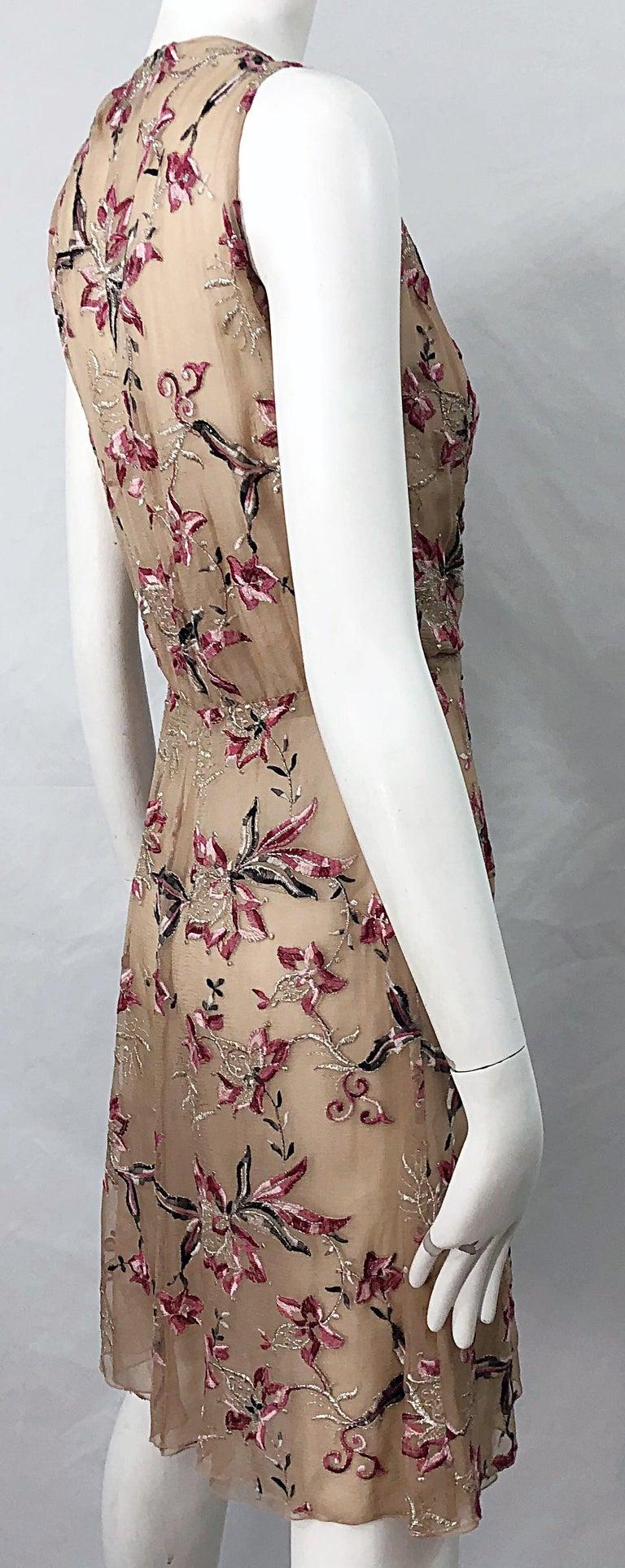 Beautiful 1990s Valentino Nude Silk Chiffon Semi Sheer Size 6 Embroidered Dress For Sale 6