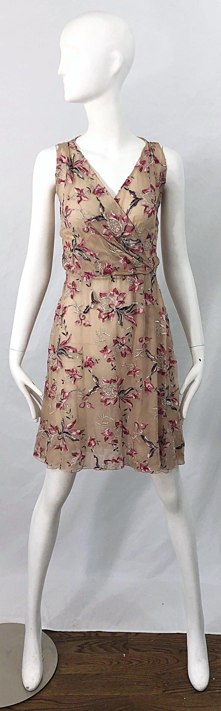 Beautiful 1990s Valentino Nude Silk Chiffon Semi Sheer Size 6 Embroidered Dress For Sale 7