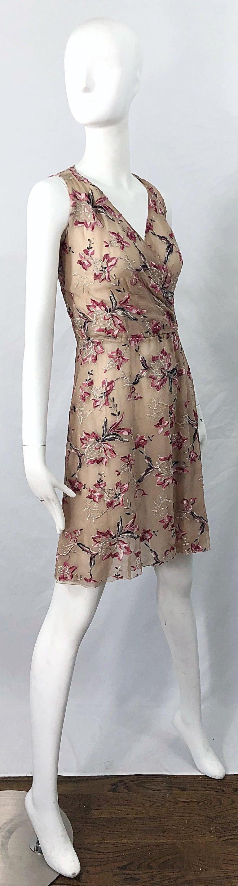 Beautiful 1990s Valentino Nude Silk Chiffon Semi Sheer Size 6 Embroidered Dress For Sale 8