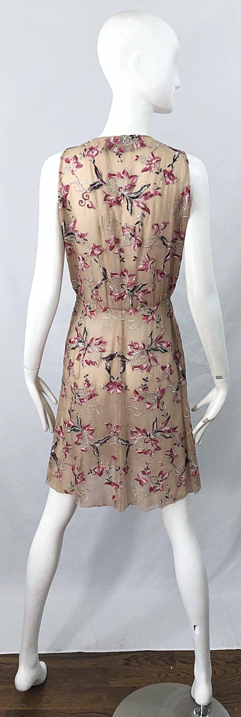 Beautiful 1990s Valentino Nude Silk Chiffon Semi Sheer Size 6 Embroidered Dress For Sale 9