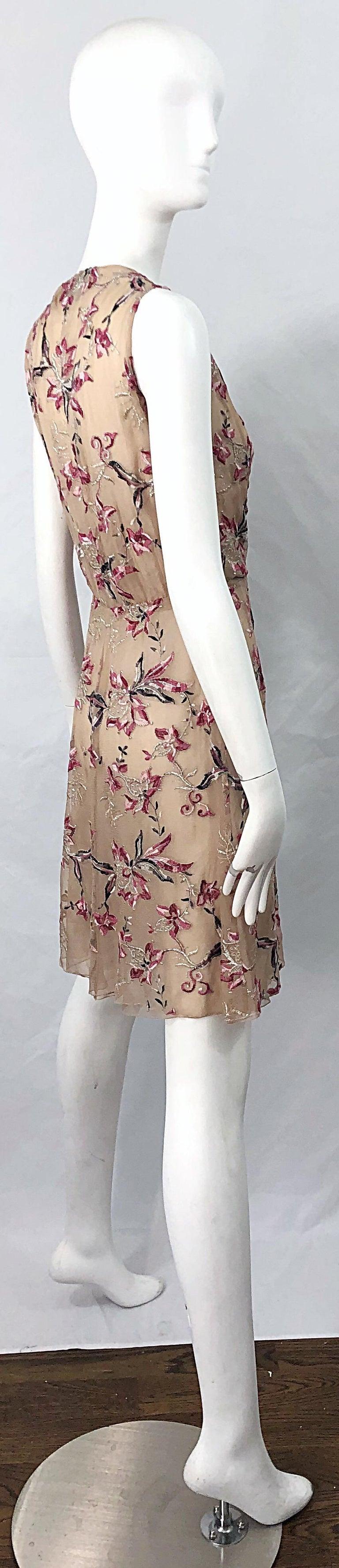Beautiful 1990s Valentino Nude Silk Chiffon Semi Sheer Size 6 Embroidered Dress For Sale 10