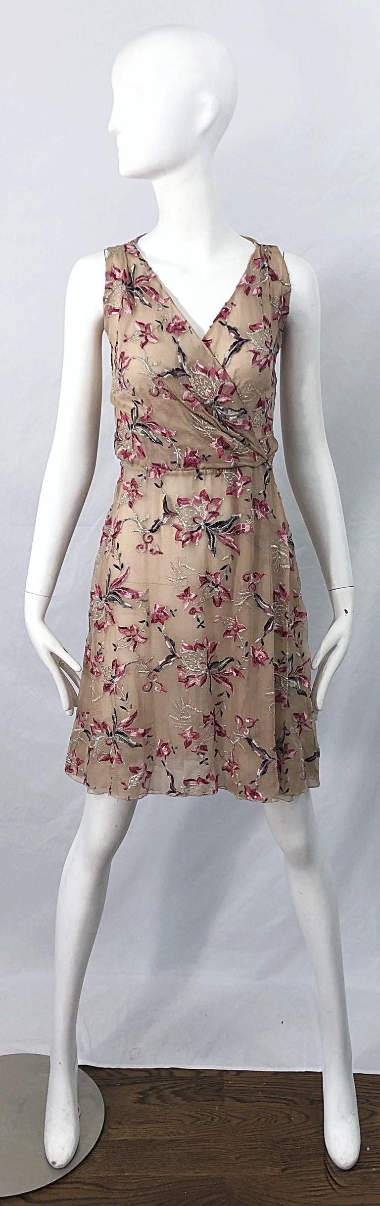 Beautiful 1990s Valentino Nude Silk Chiffon Semi Sheer Size 6 Embroidered Dress For Sale 11