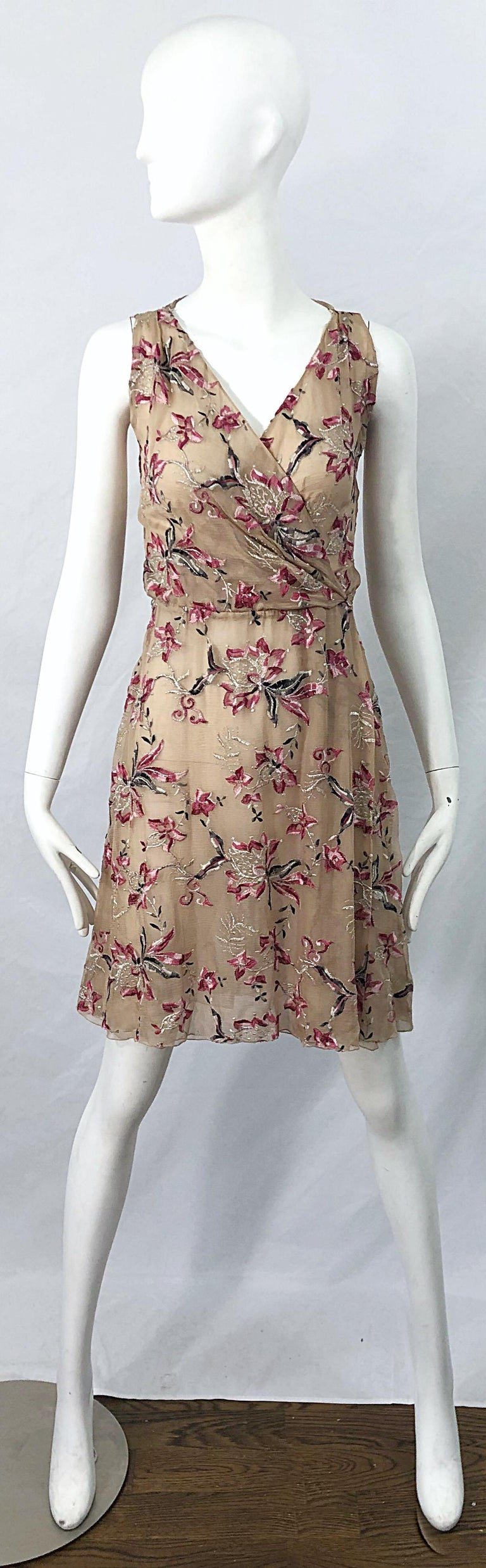 Brown Beautiful 1990s Valentino Nude Silk Chiffon Semi Sheer Size 6 Embroidered Dress For Sale