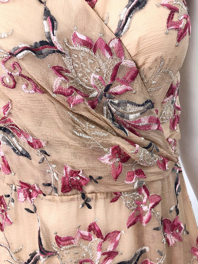 Beautiful 1990s Valentino Nude Silk Chiffon Semi Sheer Size 6 Embroidered Dress In Excellent Condition For Sale In Chicago, IL