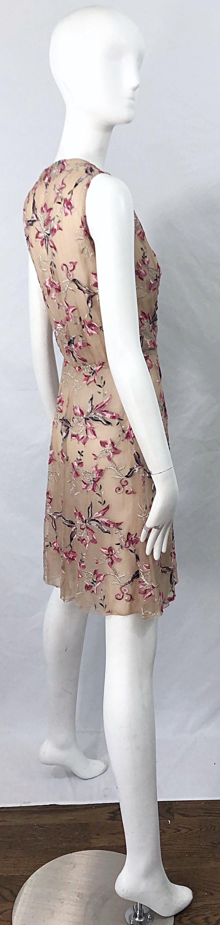 Women's Beautiful 1990s Valentino Nude Silk Chiffon Semi Sheer Size 6 Embroidered Dress For Sale