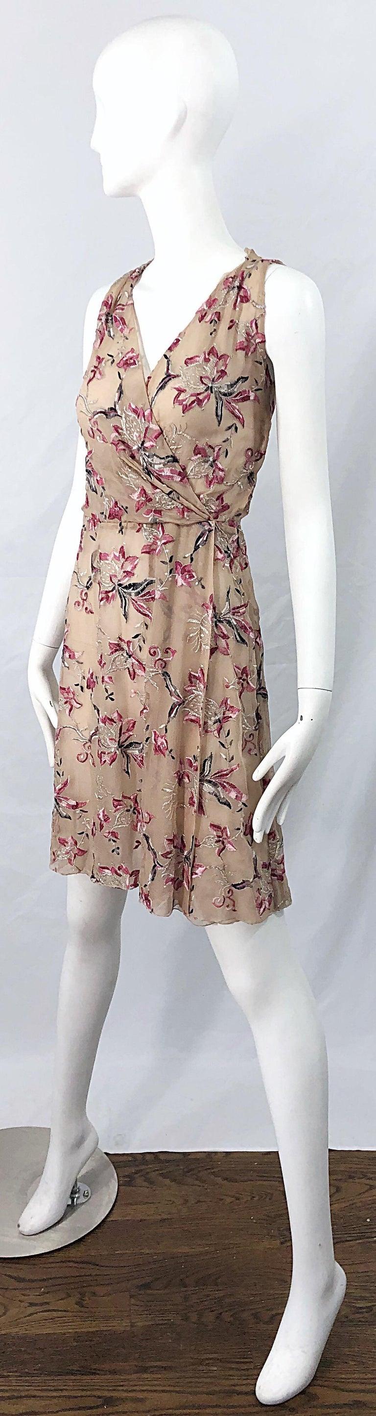 Beautiful 1990s Valentino Nude Silk Chiffon Semi Sheer Size 6 Embroidered Dress For Sale 1