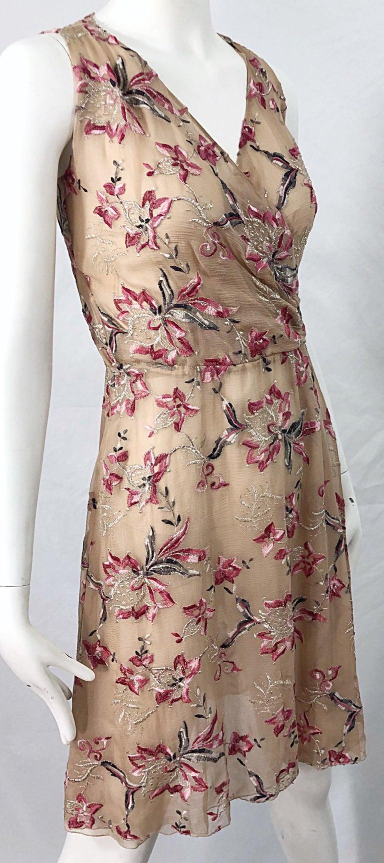 Beautiful 1990s Valentino Nude Silk Chiffon Semi Sheer Size 6 Embroidered Dress For Sale 2