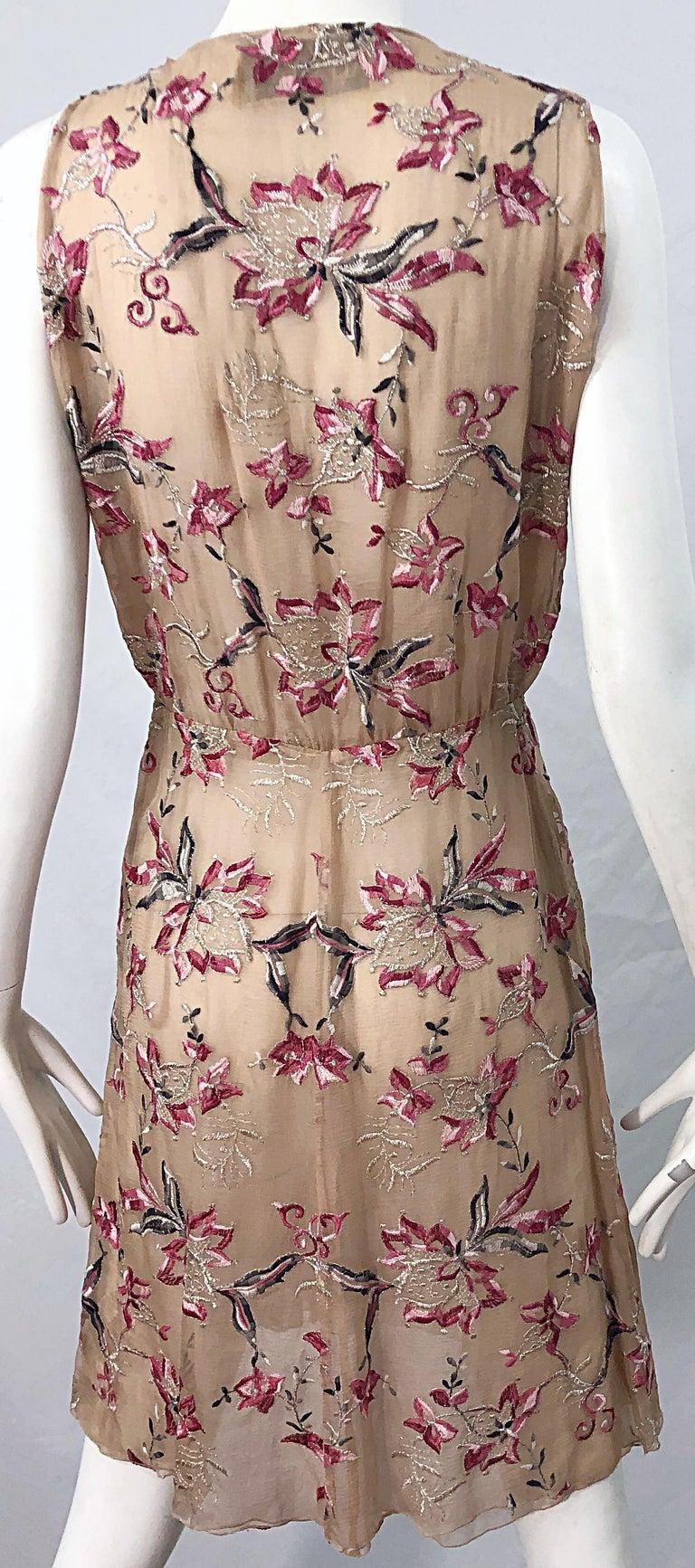 Beautiful 1990s Valentino Nude Silk Chiffon Semi Sheer Size 6 Embroidered Dress For Sale 3