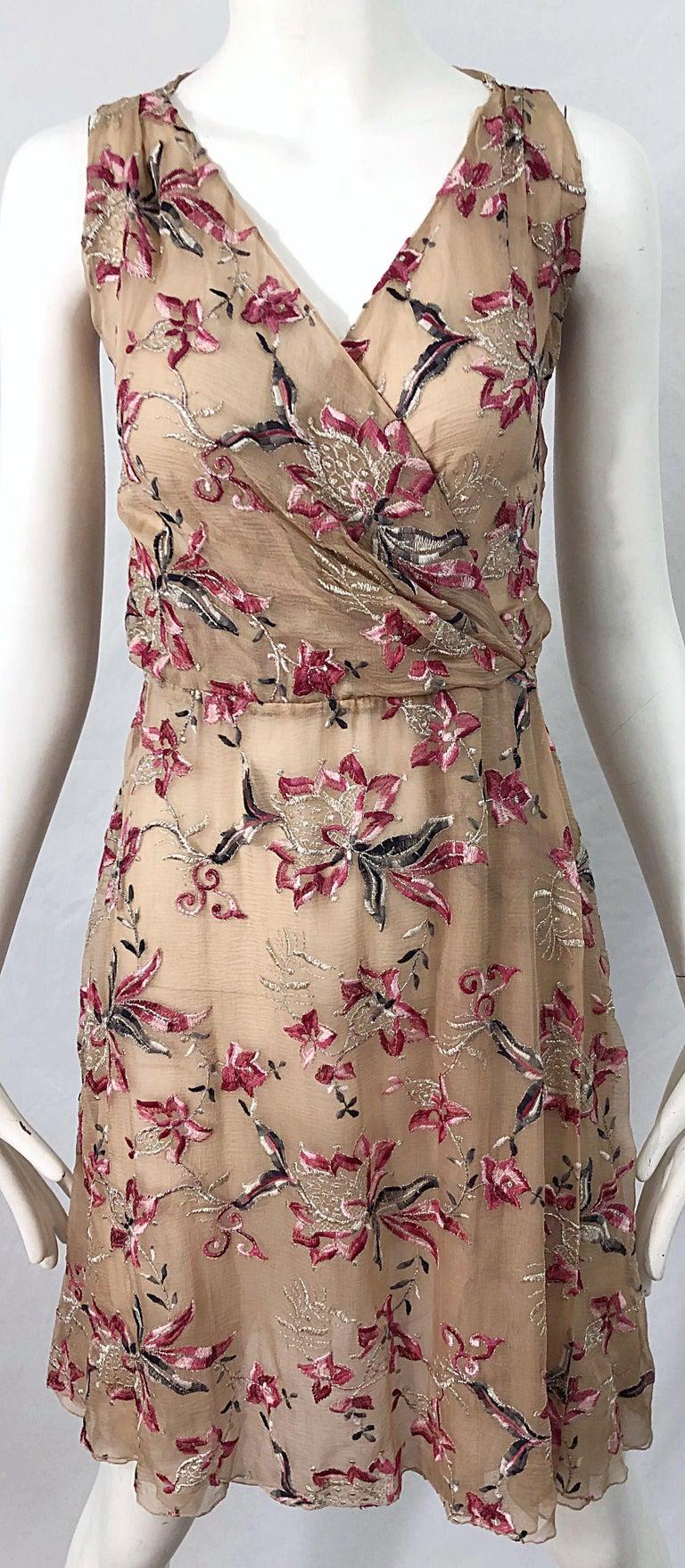 Beautiful 1990s Valentino Nude Silk Chiffon Semi Sheer Size 6 Embroidered Dress For Sale 4