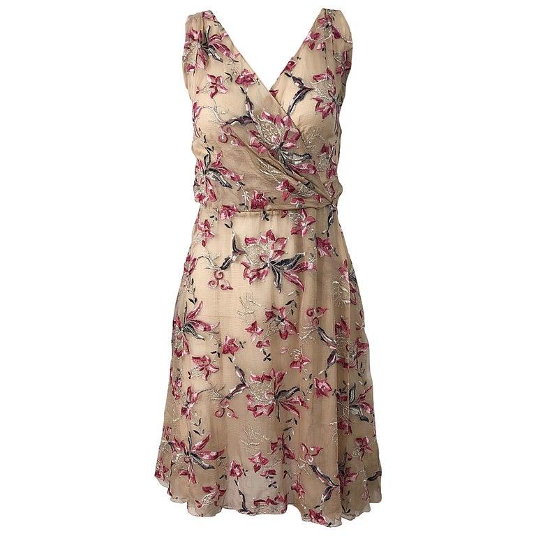 Beautiful 1990s Valentino Nude Silk Chiffon Semi Sheer Size 6 Embroidered Dress For Sale