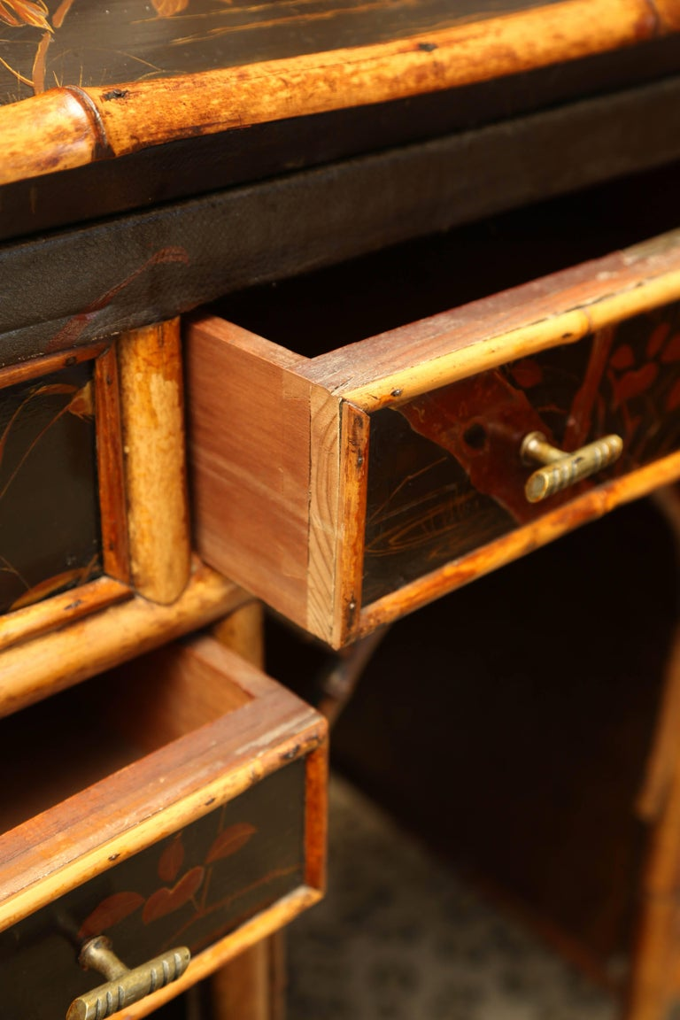 Beautiful 19th Century English Bamboo Ladies Knee-Hole Desk For Sale 2