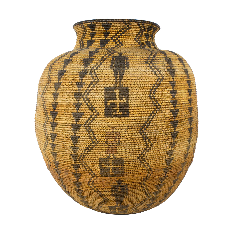 Beautiful 19th Century Apache Figurative Olla Shaped Basket
