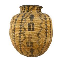Beautiful 19th Century Apche Figurative Olla Shaped Basket