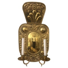 Beautiful 19th Century Dutch Brass Two Arm Candle Sconce