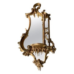 Beautiful 19th Century French Antique Gilt Wooden Frame Wall Mirror with Bracket