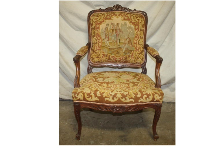 Fabric Beautiful 19th Century French Armchair For Sale