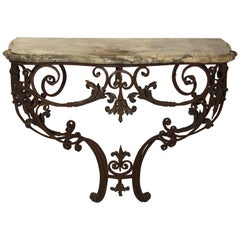Beautiful 19th Century French Iron and Bronze Console Table with Marble Top
