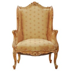 Beautiful 19th Century French Louis XV Gilt Carved Bergère