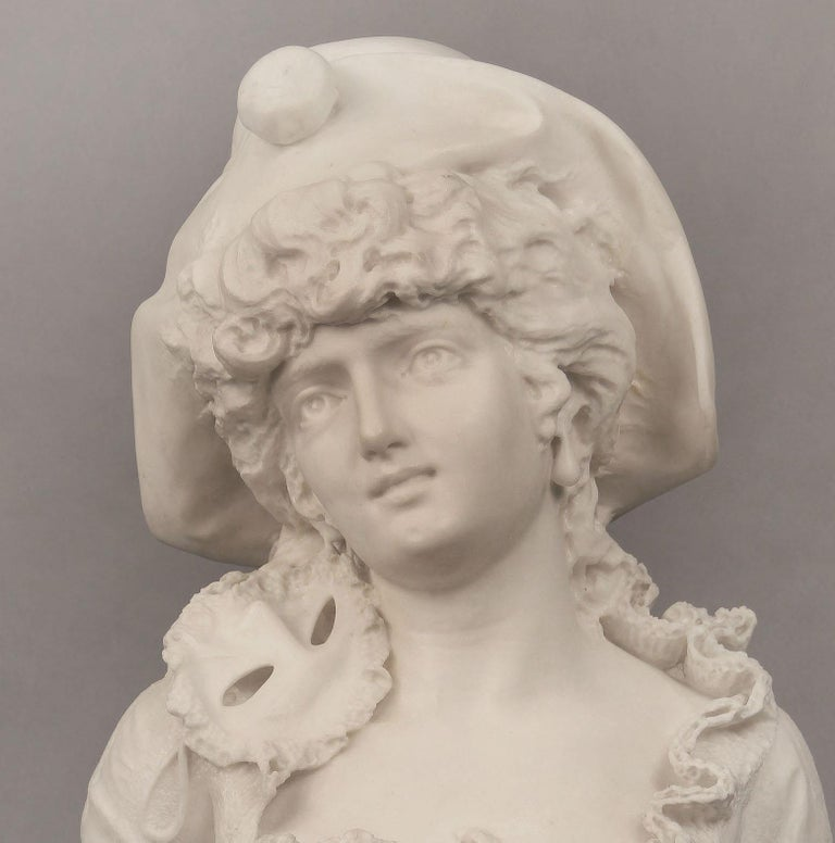Belle Époque Beautiful 19th Century Italian Carrara Marble Bust of a Woman by F. Musaglino For Sale