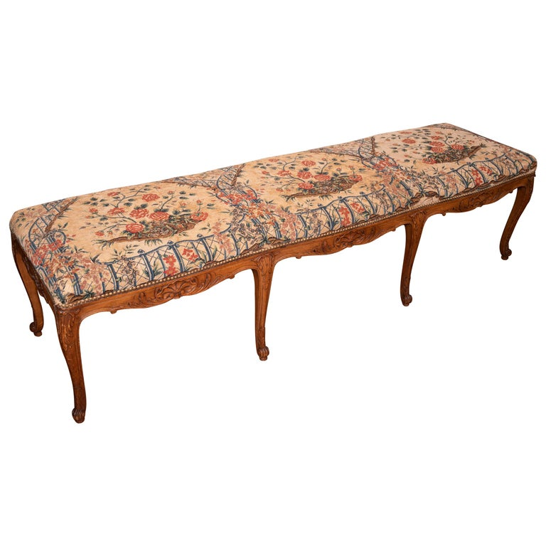 Beautiful 19th Century Walnut Bench with Original Needlepoint Cushion For Sale