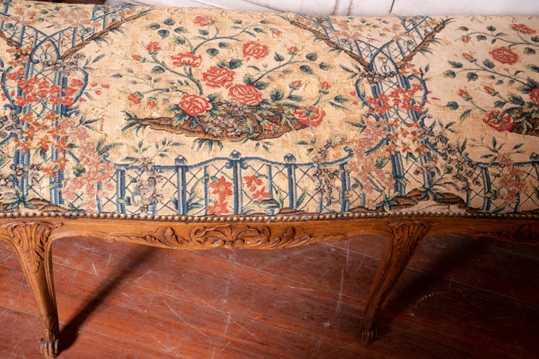 George III Beautiful 19th Century Walnut Bench with Original Needlepoint Cushion For Sale