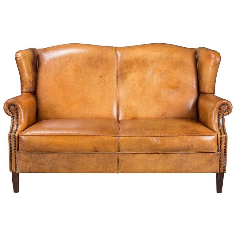 Amazing Beautiful 20Th Century Dutch High Back Honey Colour Leather Creativecarmelina Interior Chair Design Creativecarmelinacom