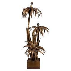 Beautiful 20th Century Maison Jansen Palm Tree Floor / Side Lamp, circa 1970
