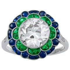 Beautiful 2.16 Carat Center Diamond with Emerald and Sapphire Ring