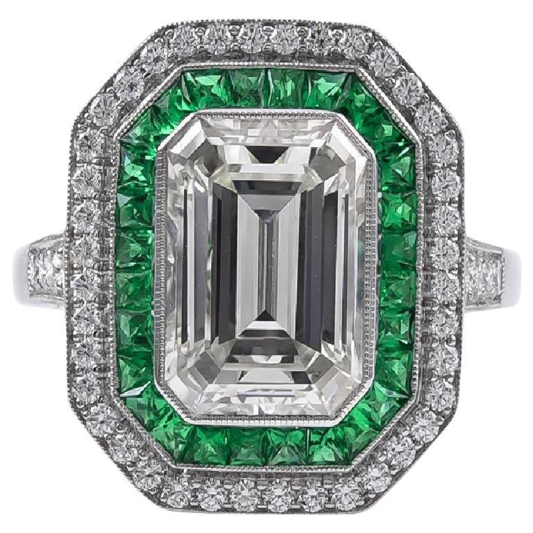 Stunning 2.84 Carat Emerald Cut Diamond Ring and Emerald Ring