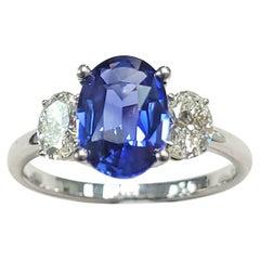 Beautiful 3, Stone Sapphire & White Diamond Ring