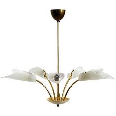 Beautiful 5-Armed Mid-Century Modern Brass Chandelier with Plexiglass Shades