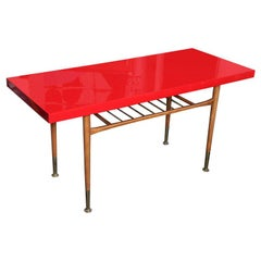 Beautiful  60's Red Top Sofa Table/TV DVR Table