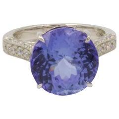 Beautiful, 9.56 Carat No Heat Tanzanite Ring with Diamonds 18 Karat