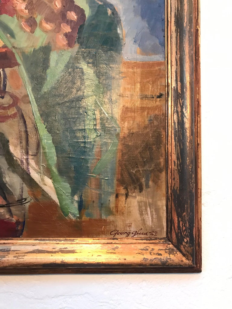 Modern Beautiful Abstract Oil on Canvas by Danish Artist Georg Glud For Sale