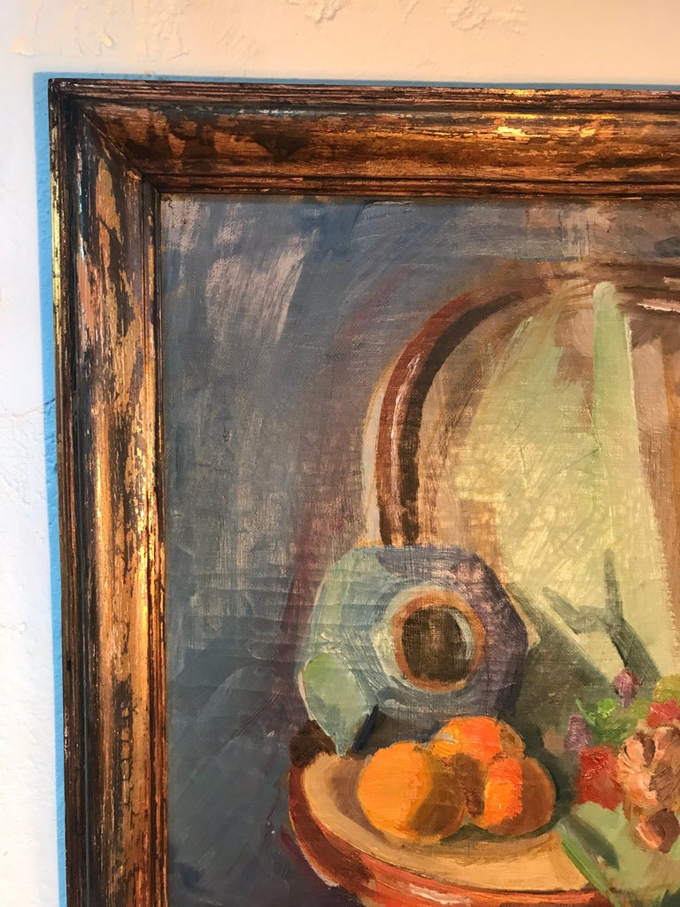 Hand-Painted Beautiful Abstract Oil on Canvas by Danish Artist Georg Glud For Sale