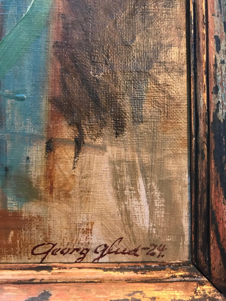 Early 20th Century Beautiful Abstract Oil on Canvas by Danish Artist Georg Glud For Sale