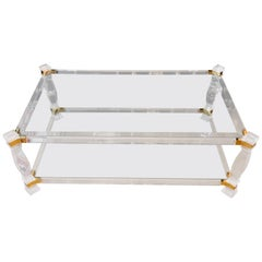 Beautiful Acrylic Couch Table with Gold Painting Glass Made in Italy