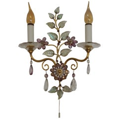 Beautiful Amethyst Wall Sconce in the Style of Maison Baguès, circa 1950s