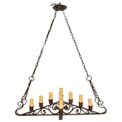 Beautiful and Elegant 1920s Wrought Iron Chandelier
