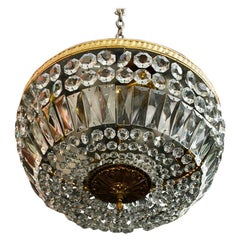 Beautiful and Large 1940's Crystal Flush Light