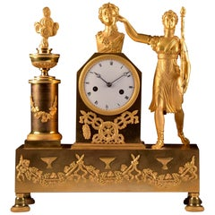 Beautiful and Large Empire Gilded Bronze Clock with Image of Dionysus / Bacchus