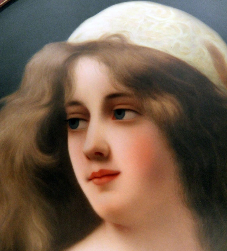 A beautiful and large late 19th century Berlin K.P.M. Porcelain oval plaque signed Wagner  Signed Wagner  The portrait of a lovely woman entitled 'Agesta', after the artist Angelo Asti.  Impressed K.P.M and scepter marks, in the original