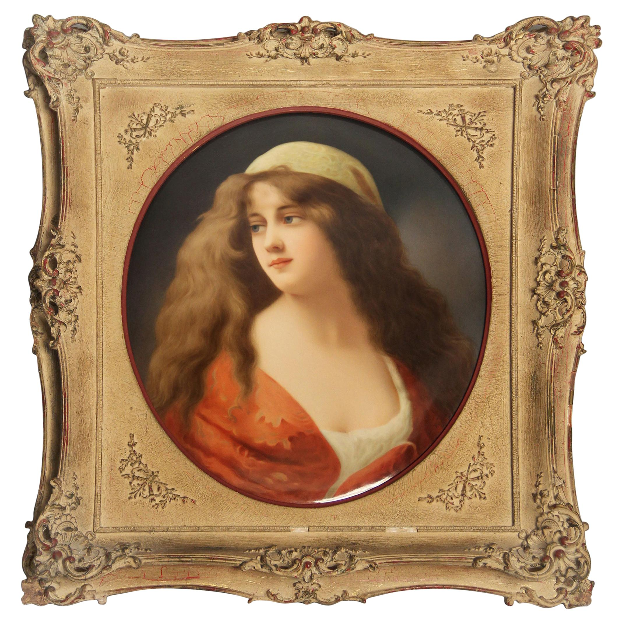 Beautiful and Large Late 19th Century K.P.M. Oval Plaque Signed Wagner