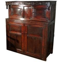 Beautiful and Original Queen Anne Oak Court Cupboard, Dated 1705